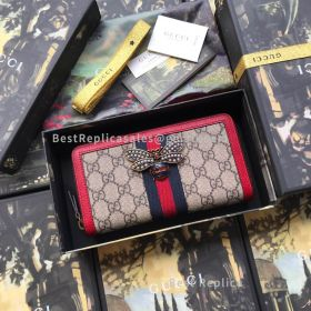 Gucci Queen Margaret GG Canvas Zip Around Wallet Red 476069