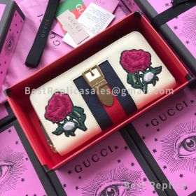 Gucci Sylvie Embroidered Leather Zip Around Wallet White 476083