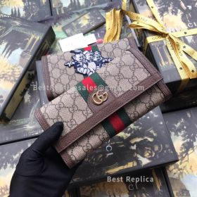 Gucci Ophidia GG Continental Wallet With Three Little Pigs Brown 523153