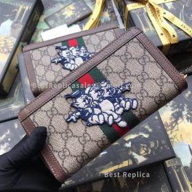 Gucci Ophidia GG Zip Around Wallet With Three Little Pigs Brown 523154