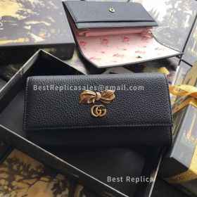 Gucci Leather Continental Wallet With Bow Black 524286