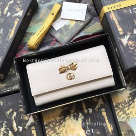 Gucci Leather Continental Wallet With Bow White 524290