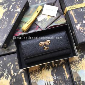 Gucci Leather Continental Wallet With Bow Black 524290