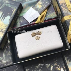 Gucci Leather Zip Around Wallet With Bow White 524291