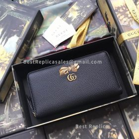 Gucci Leather Zip Around Wallet With Bow Black 524291