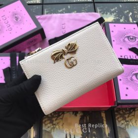 Gucci Leather Zip Around Wallet With Bow White 524300