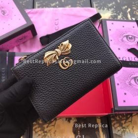 Gucci Leather Zip Around Wallet With Bow Black 524300