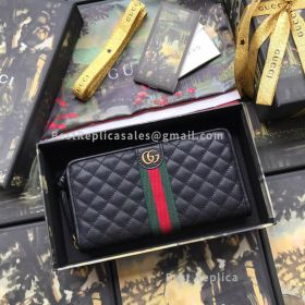 Gucci Leather Zip Around Wallet With Double G Black 536450