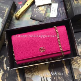 Gucci GG Marmont Leather Chain Wallet Pink 546585