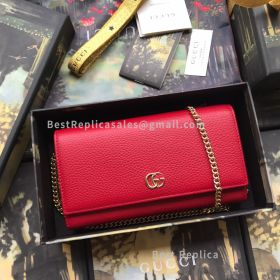 Gucci GG Marmont Leather Chain Wallet Red 546585