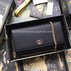 Gucci GG Marmont Leather Chain Wallet Black 546585