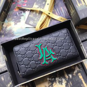 Gucci Zip Around Wallet With NY Yankees Patch Black 547791