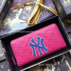 Gucci Zip Around Wallet With NY Yankees Patch Purple 547791