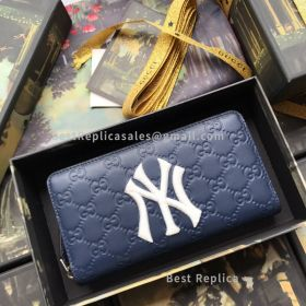 Gucci Zip Around Wallet With NY Yankees Patch Blue 547791