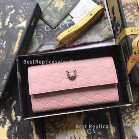 Gucci Signature Continental Wallet With Cat Pink 548055