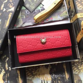 Gucci Signature Continental Wallet With Cat Red 548055