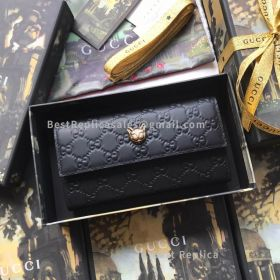 Gucci Signature Continental Wallet With Cat Black 548055