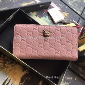 Gucci Signature Zip Around Wallet With Cat Pink 548058