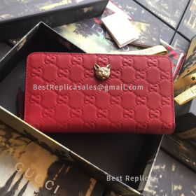 Gucci Signature Zip Around Wallet With Cat Red 548058