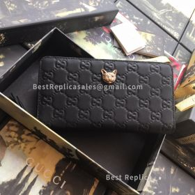 Gucci Signature Zip Around Wallet With Cat Black 548058