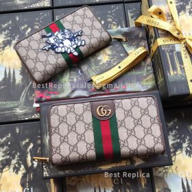 Gucci GG Supreme Long Wallet With Three Little Pigs Brown 557696
