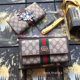 Gucci GG Continental Wallet With Three Little Pigs Brown 557803