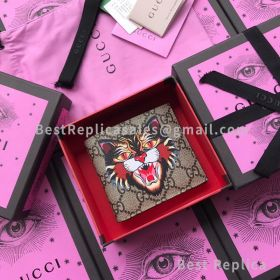 Gucci Angry Cat Print GG Supreme Wallet Black 451268