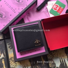 Gucci Animalier Leather Wallet Black 523664