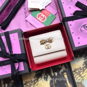 Gucci Leather Wallet With Bow White 524294