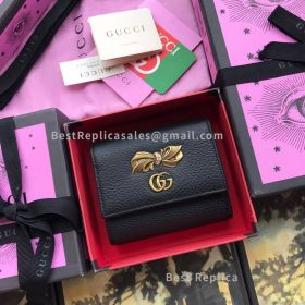Gucci Leather Wallet With Bow Black 524294