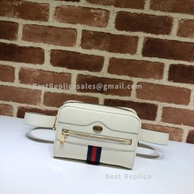 Gucci Ophidia Small Leather Belt Bag White 517076
