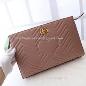 Gucci GG Marmont Matelasse Clutch Nude 448450