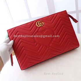 Gucci GG Marmont Matelasse Clutch Red 448450
