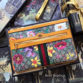 Gucci Ophidia GG Flora Pouch Yellow 517551