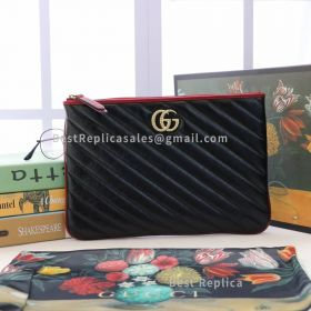 Gucci GG Marmont Diagonal Quilted Leather Pouch Black 573814