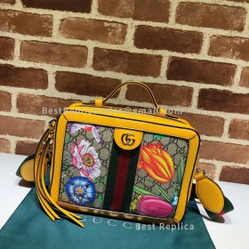 Gucci Ophidia GG Flora Small Shoulder Bag Yellow 550622
