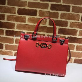 Gucci Zumi Grainy Leather Medium Top Handle Bag Red 564714