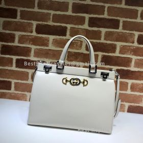 Gucci Zumi Smooth Leather Medium Top Handle Bag White 564714