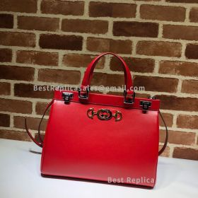 Gucci Zumi Smooth Leather Medium Top Handle Bag Red 564714