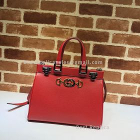 Gucci Zumi Grainy Leather Small Top Handle Bag Red 569712