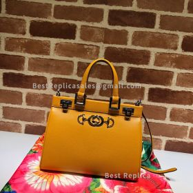 Gucci Zumi Grainy Leather Small Top Handle Bag Yellow 569712
