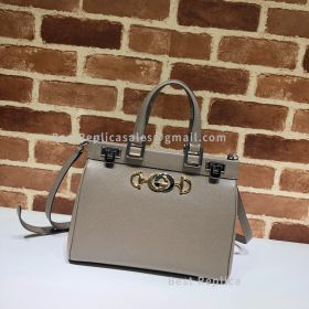 Gucci Zumi Grainy Leather Small Top Handle Bag Grey 569712