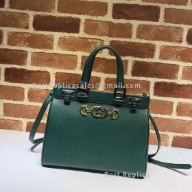 Gucci Zumi Grainy Leather Small Top Handle Bag Green 569712