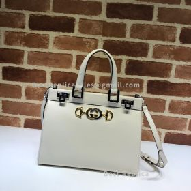 Gucci Zumi Smooth Leather Small Top Handle Bag White 569712