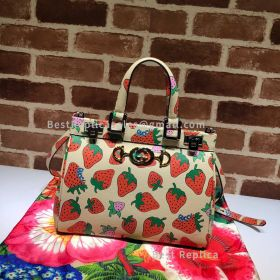 Gucci Zumi Smooth Leather Small Top Handle Bag Strawberry 569712