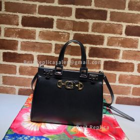 Gucci Zumi Smooth Leather Small Top Handle Bag Black 569712