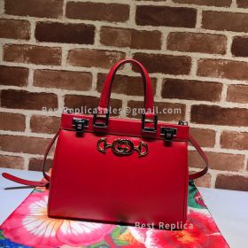 Gucci Zumi Smooth Leather Small Top Handle Bag Red 569712