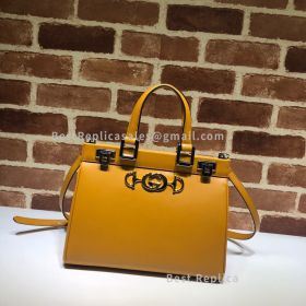 Gucci Zumi Smooth Leather Small Top Handle Bag Yellow 569712