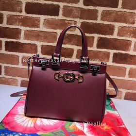 Gucci Zumi Smooth Leather Small Top Handle Bag Wine 569712
