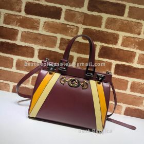 Gucci Zumi Smooth Leather Medium Top Handle Bag Red 569712